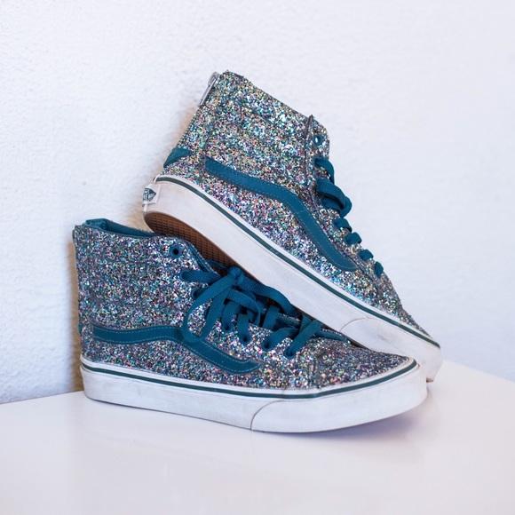 294304ff9efe2c Vans Old Skool Sk8-Hi Teal Glitter Sparkle 8.5. M 5bc7774603087cbf9a562df6.  Other Shoes ...